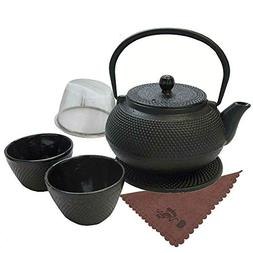 Traditional Japanese Tea Kettle Iron Teapot Gift Set Cast 7