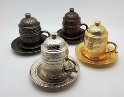 TRADITIONAL OTTOMAN METAL TURKISH COFFEE CUPS WITH SAUCER &
