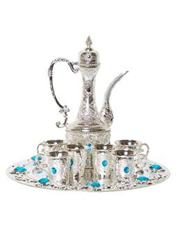 Traditional Turkish Imperial Ottoman Style Tea Set for 6 inc