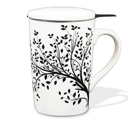 Tea Branch - Black Tree, Ceramic Tea Infuser Mug With Filter