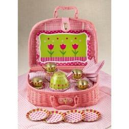 """Delton Products Tulips Tin Tea Set in Basket, 4"""", Pink"""
