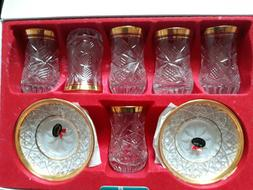 ABKA Turkish Clear Crystal Tea Set of 12 Gold Trim Handmade
