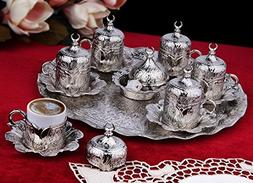 27 Pieces Turkish Greek Coffee Espresso Set for Serving - Po