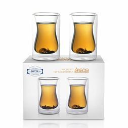 Epare Turkish Tea Cups Set of 2 - 6oz Double Wall Infuser Gl