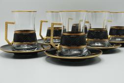 Turkish Tea Glass Set of 6 Cups Glasses Saucers , Personaliz