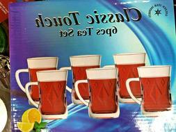 Turkish Tea glass /Tea Cups Set of 6 Clear with handle /Tea-