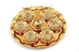 Turkish Style Tea Glasses with Holders, Saucers and Tray 6 C
