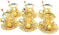 Turkish Tea Glasses Set with Saucers Holders Spoons, Decora