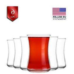 Turkish Tea Glasses Set of 6, Authentic Small Crystal Clear