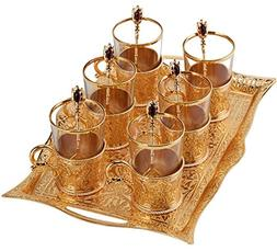 Turkish Tea Set for 6 - Decorated Glasses with Brass Holders