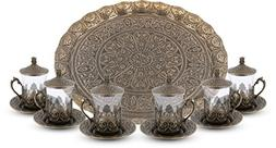 Turkish Moroccan Indian Tea Set for Six - Glasses with Brass
