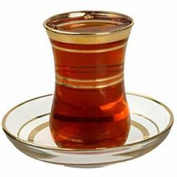 Turkish Teacups Tea Glasses &amp Saucers Set - Gold Trim Des