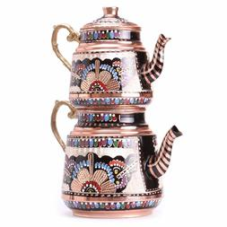 Turkish Traditional Tea Pot Handmade Handhammered Teapot Set