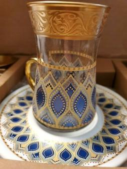 Turquoise Gold Color Decorated Turkish Tea Set