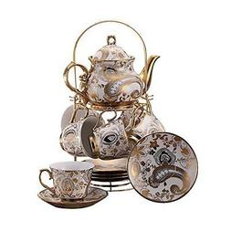 ufengke 13 Piece European Retro Titanium Ceramic Tea Set Wit