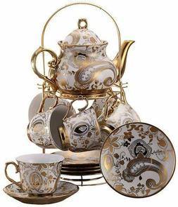ufengke 13 Piece Painting Ceramic Tea Set With Metal Holder,