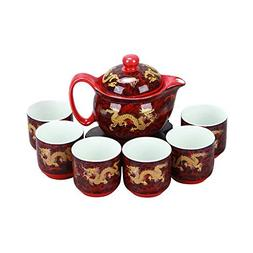 ufengke 7 Piece Chinese Kung Fu Tea Set, Vintage Bone China