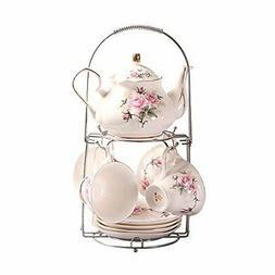 ufengke 9 Piece European Ceramic Tea Set, Bone China Tea Ser