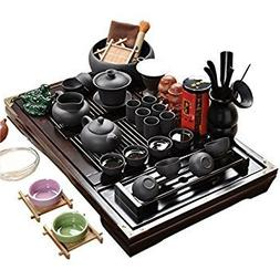 ufengke Wood Tea Tray Ceramic Kung Fu Tea Set Tea Service-Bl