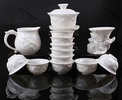ufengke 13 Piece Chinese Modern Tea Cup Set, Fine Jade Porce