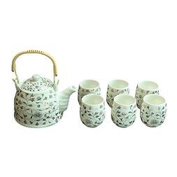 ufengke White Gold Flower Ceramic Japanese Tea Service Set w