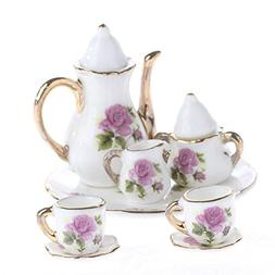 Ultra Tiny Floral Painted Ceramic Tea Set with Gold Trim for