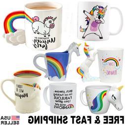Unicorn Mug 3D Color Changing Coffee Cup Rainbow Tea Set Dab