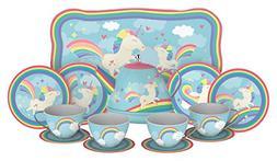 Unicorn Play Tea Set - Child Size Teacups Saucers and Servin