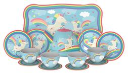 Unicorn Play Tea Set - Child Size Teacups, Saucers, and Serv