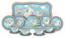 Unicorn Tin Toddler Fantasy Tea Set, 15 Piece Tin Party Tea
