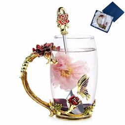 Unique Tea Cup Coffee Mug Set Gift Boxed Rose Butterfly Spoo