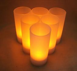 US Shipper Rechargeable Battery Tea Lights Set of 6 Amber LE