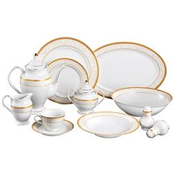 Lorren Home Trends Venice 49-Piece Porcelain Dinnerware Set,