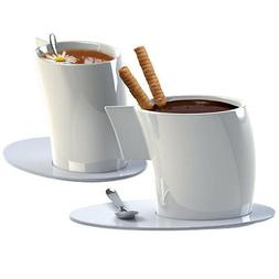 Deagourmet VENTO 4pc White Porcelain Coffee / Tea Cup & Sauc