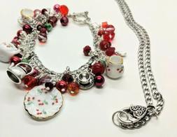 Very Cherry Tea Set Charm Bracelet with Necklace Extension G