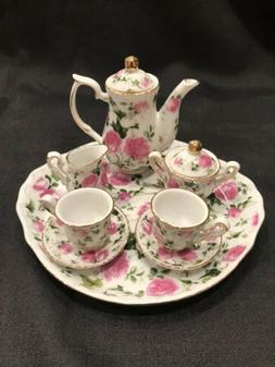 Victoria's Garden- 10 Piece Miniature - Rose Print Tea Set