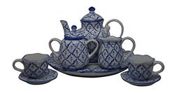 10 Piece Vintage Blue Tea Set with Teapot, Sugar, Creamer, T