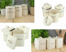 Vintage Cream Enamel Tea Coffee Sugar Kitchen Storage Canist