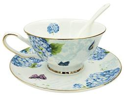 Jsaron Vintage Flower Tea Coffee Cup with Spoon and Saucer S