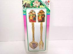 Vintage Fons Tea Spoon Set Coffee Gold Asian Oriental Servew