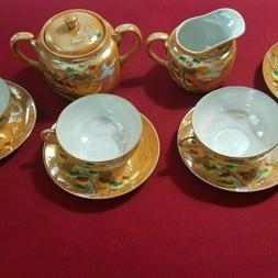 Vintage Sterling China Hand painted Japan Tea for 9-Piece