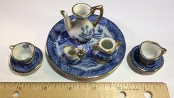 Vintage  Miniature Child Doll Tea Set Cups Saucers Tea Pot C