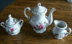 Vintage Porcelain Tea Pot Creamer Sugar Set Moss Rose Floral