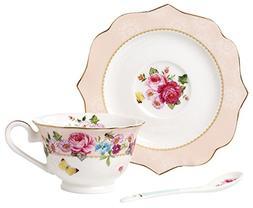 Jusalpha Vintage Rose Bone China Teacup Spoon and Saucer Set