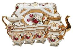 Royalty Porcelain 10-Piece Vintage Rose-Decorated Dining Tea