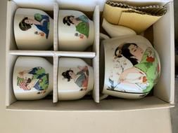 Vintage Set of 4 Geisha Tea Cup Japanese Girl Kimono Made Ja