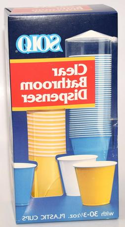 Vintage Solo Clear Bathroom Cup Wall Mount Dispenser w/ 30 3