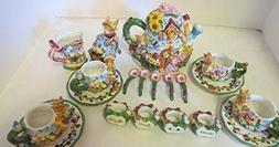 Vintage SWC 19-Piece Springtime Tea Set Hand Painted Ceramic