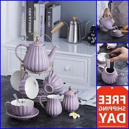 Vintage Tea Set Coffee Saucers Porcelain Tea Cup Set 17 Pc H