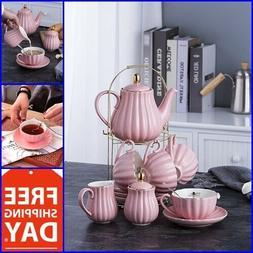 Vintage Tea Set Porcelain Tea Cup Coffee Saucers Set 17 Pc H